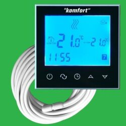 Komfort Sapphire Black Touch Screen Thermostat with Screed Sensor