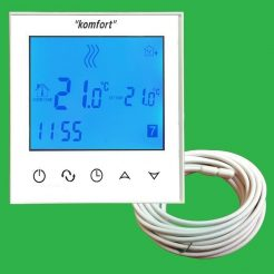 Komfort Glacier White Touch Screen Thermostat with Screed Sensor