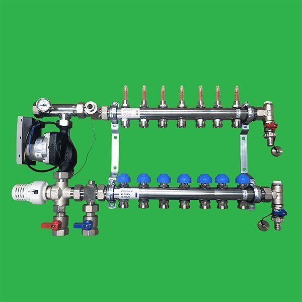Underfloor Heating 2 port Stainless Steel Manifold, Valves and Pump Set