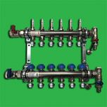 Underfloor Heating Manifold Watts 6 port Stainless Steel Manifold Bar 1″ Dia & Flowmeters, F/R Valves and Terminal Pieces