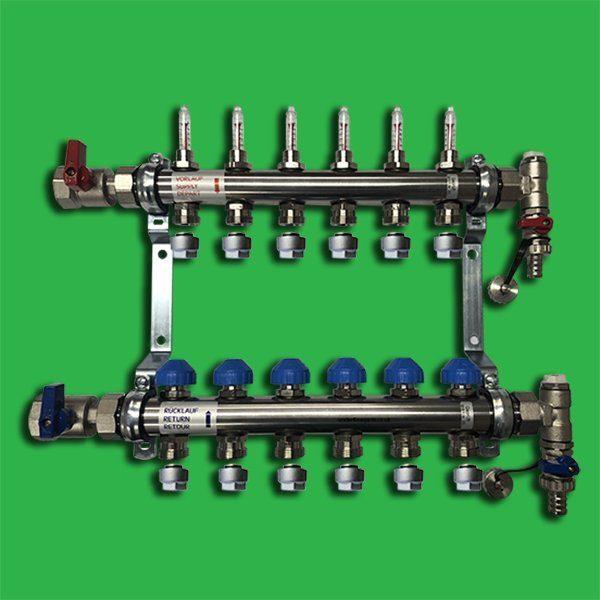 Underfloor Heating Manifold Watts 6 port Stainless Steel Manifold Bar 1″ Dia & Flowmeters, F/R Valves and Terminal Pieces