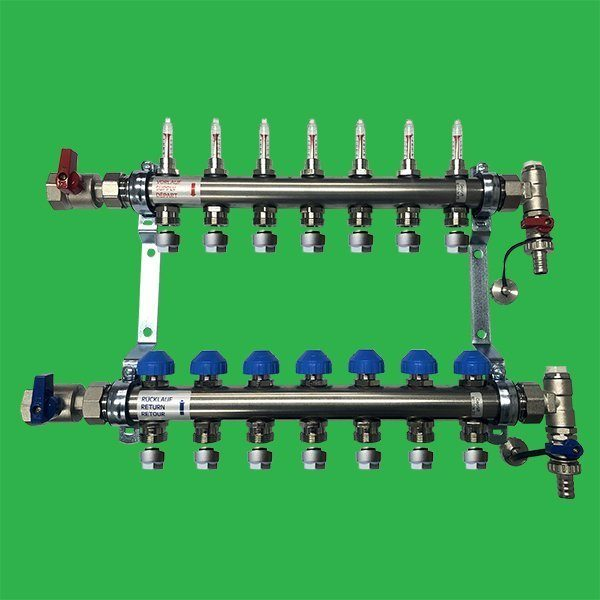 Underfloor Heating Manifold Watts 7 port Stainless Steel Manifold Bar 1″ Dia & Flowmeters, F /R Valves and Terminal Pieces
