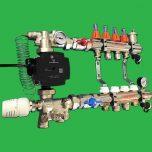5 Port Underfloor Heating Manifold with Grundfos UPM3 Pump, Uni-Mix Blending Valve
