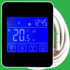 Reliance Black Touchscreen Underfloor Heating Thermostat and Screed Sensor Probe