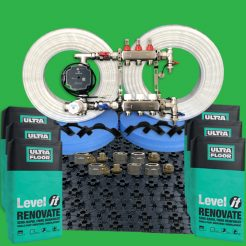 Thin Renovation Underfloor Heating Pack with Renovate Levelling Screed 15sq.m.