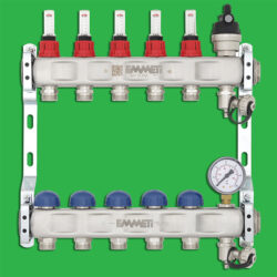 Emmeti 01282268 Underfloor Heating Manifold 6 Port Stainless Manifold 24 x 19 Outlets