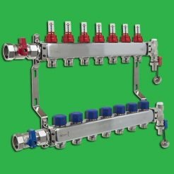 Underfloor Heating Manifold - Reliance 7 Port Stainless Steel UFH Manifold - Ends + Valves Included. MANA450507