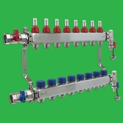 Underfloor Heating Manifold - Reliance 8 Port Stainless Steel UFH Manifold - End + Valves Included MANA450508