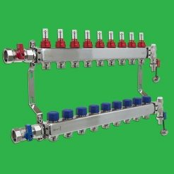 Underfloor Heating Manifold - Reliance 9 Port Stainless Steel UFH Manifold - Ends + Valves Included MANA450509