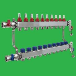 Underfloor Heating Manifold - Reliance 10 Port Stainless Steel UFH Manifold - Ends + Valves Included MANA450510