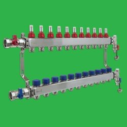 Underfloor Heating Manifold - Reliance 11 Port Stainless Steel UFH Manifold - Ends + Valves Included MANA450511
