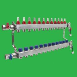 Underfloor Heating Manifold - Reliance 12 Port Stainless Steel UFH Manifold - Ends + Valves Included MANA450512