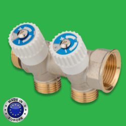 Plumbing Manifold 2 Port with Service Isolation Valves - Universal Hot and Cold Water