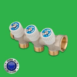 Plumbing Manifold 3 Port with Service Isolation Valves - Universal Hot and Cold Water