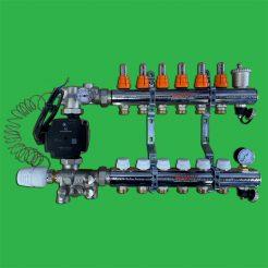 9 Port Underfloor Heating Manifold with Uni-Mix Temperature Control Valve and Grundfos UPM3 Pump