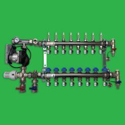 Underfloor Heating 8 port Stainless Steel Manifold, Valves and Pump Set - Watts