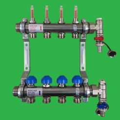 Underfloor Heating Manifold Watts 6 port Stainless Manifold Bar, Flow meters and Terminal Ends